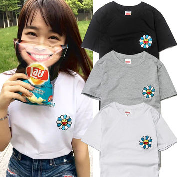 """Sunflower"" Murakami Long Sunflower  Fashion Casual Male Female Solid Color Embroidery Sunflower Logo Round Neck Short Sleeve Couple T-shirt"