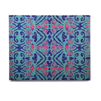 "Miranda Mol ""Ornamental Lace Blue"" Blue Pink Pattern Damask Mixed Media Digital Birchwood Wall Art"