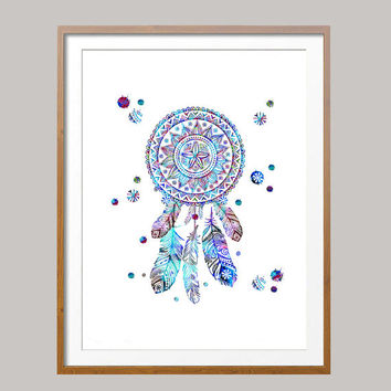 Printable dreamcatcher, Instant Download, dreamcatcher gitital print, dreamcatcher poster, digital illustration