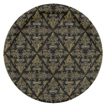 Damask 06 Black-Gold-Paper Party Plates 9 Inch Paper Plate
