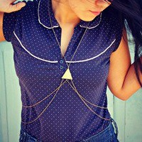 alapop — triangle body chain in antique brass