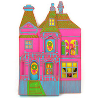 Pink Palace - Unusual 1970s 3D Paper House Christmas Package Decoration, Huge Psychedelic Victorian Mansion with Working Shutters