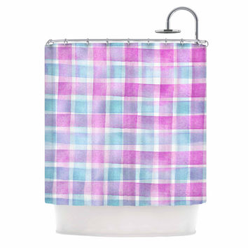 "Michelle Drew ""Watercolour Checked Tartan Sin"" Magenta Plaid Shower Curtain"