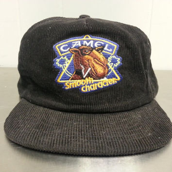 Vintage 80s Corduroy Joe Camel Smooth Character Snapback Hat Tobacco Collectors Piece Tobacciana RJ Reynolds