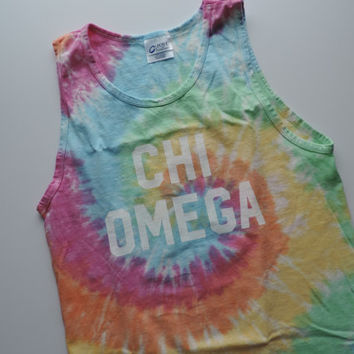 New Chi Omega Tie Dye Tank Top Shirt // Size SMALL  // Ready To Ship