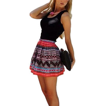 Women Style Sexy Dress Boho Casual Sleeveless Print Patchwork Party Mini Dress Plus Size vestido de festa INY66