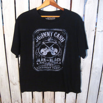 Johnny Cash T-Shirt Size Large. Man in Black. Retro T-Shirt, Upcycled Clothing. Reconstruction Available