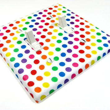 Rainbow Polka Dot Double Light Switch Plate Cover by ModernSwitch
