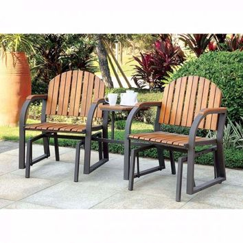 Perse Contemporary Rocking Chair Set, Oak Finish