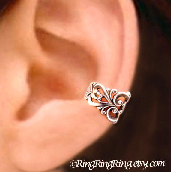 Princess  Filigree sliver ear cuff earring jewelry - earcuff clip 080212