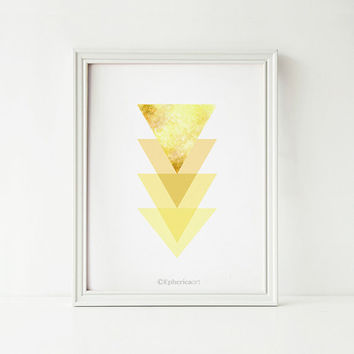 Yellow Triangles art print, Digital Printable wall art print, Yellow Home decor, Abstract art print, Yellow decor Geometric art, Wall Print