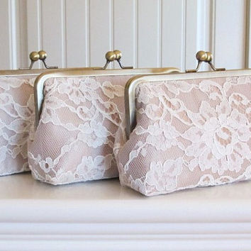 SALE 30% OFF - Silk And Alencon Lace Clutch Set Of 3-Ivory/Champagne-Wedding Clutch-Lace Clutch-Bridal Clutch-Bags And Purses