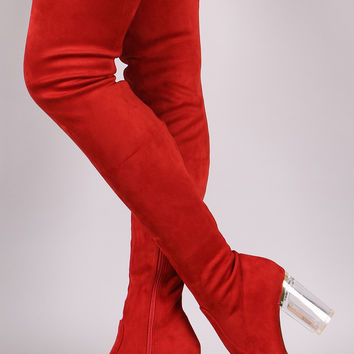 Fitted Suede Lucite Chunky Heeled Over-The-Knee Boots