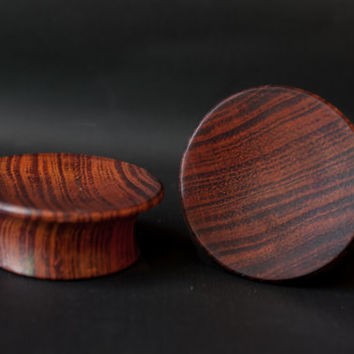 "Mayan Flair Red Tiger Wood Plugs 8g 6g 4g 2g 0g 00g 7/16"" (11mm) 1/2"" (12mm)"