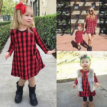 1-6Y NEW A-line Baby Kids Girl Dress Checked Party Princess Formal Dresses US