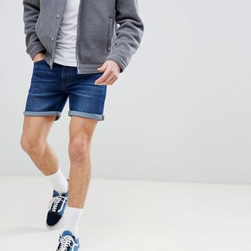 Dr Denim Mac Shaded Dark Blue Shorts at asos.com