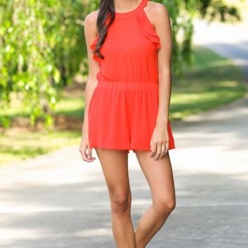 At Liberty Red Ruffle Romper
