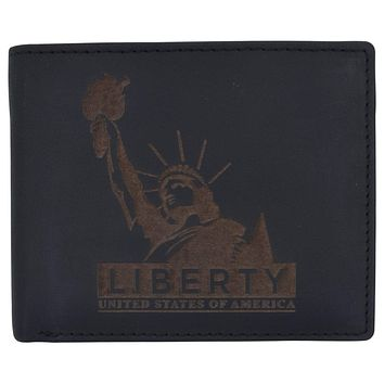 Mens RFID Blocking Cowhide Leather Bifold Wallet Statue of Liberty Logo