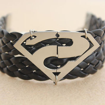 bracelet--superman bracelet,silver charm bracelet,black braid leather bracelet,men gift