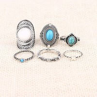 6pcs Set Midi ring Sets Boho Beach Vintage Rings For Women Artificial Sapphire Christmas Gift