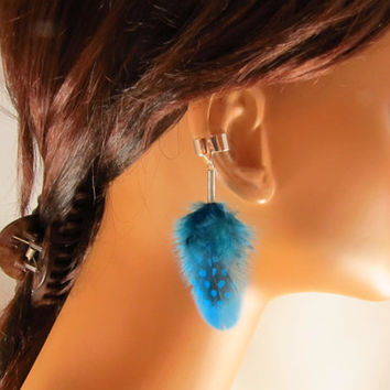 Ear Cuff Kingfisher Blue Guinea and Metz Feathers