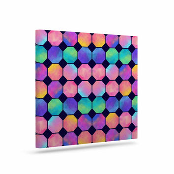 "Noonday Design ""Colorful Watercolor Octagons"" Watercolor Abstract Canvas Art"