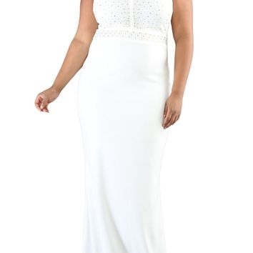 White Rhinestone Front Bodice Scalloped Neckline Plus Dress