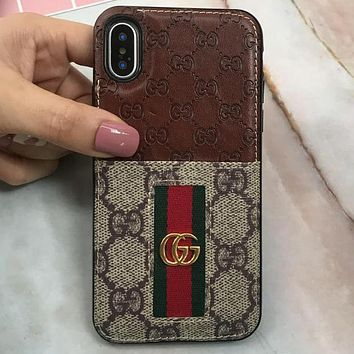 GUCCI tide brand business card package iphone7/8plus couple models mobile phone shell brown