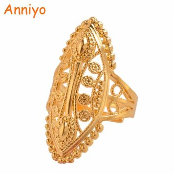 Anniyo Ethiopian Gold Color Ring Free Size for Women,Middle East Dubai Bride Wedding Jewelry African Party Gift #093906