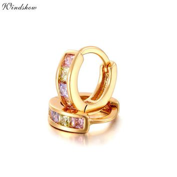 Gold Color Pave Colors Zirconia CZ Small Circles Huggies Hoop Earrings For Children Girls Baby Kids Jewelry brinco pequeno Aros