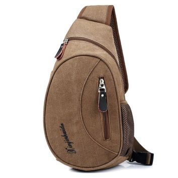Casual Chest Bag Men Canvas Small Crossbody Male Luxury