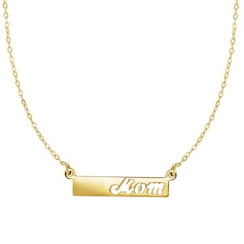 14k Yellow Gold MOM Bar Pendant Chain Necklace, 17""