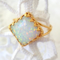 White opal ring, Gold ring, Gemstone ring, October birthstone ring, white stone ring, Square ring, Bridal ring, Delicate ring, Vintage ring