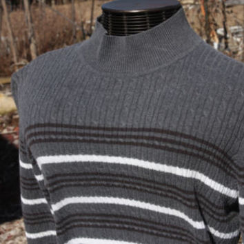 Classic Elements Grey Wt & Black Striped Mock Turtle Neck Sweater Womens Sz XL