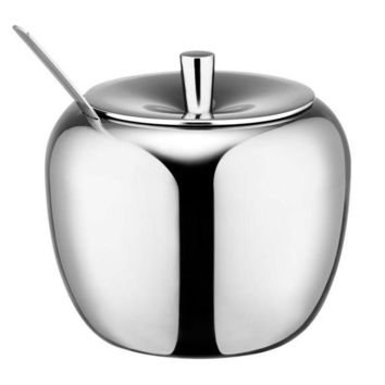 CREYLD1 Realand 18/8 Stainless Steel Apple Sugar Bowl Seasoning Jar Condiment Pot Spice Container Canister Cruet with Lid and Spoon