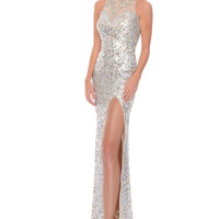 Precious Formals P9125 High Neck Sequin Prom Dress