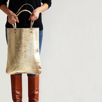 Leather Tote in Gold, Leather Bag