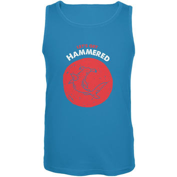 Let's Get Hammered Shark Turquoise Adult Tank Top