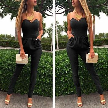 Black Geometric Tie Back Cut Out Strapless Round Neck Clubwear Fashion Long Jumpsuit
