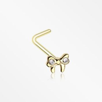 Golden Dainty Bow-Tie Sparkle L-Shaped Nose Ring