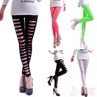 leggings for women new 2015 candy color stretch pants sexy hole leggings punk fitness leggings slim trousers workout clothes