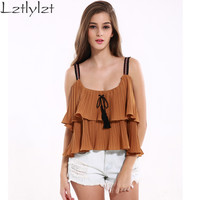 lztlylzt Women Tops Khaki Double Ruffles Loose Spaghetti Strap Tank Top Women 2016 Summer Blusas Backless Shirt Women Blouse