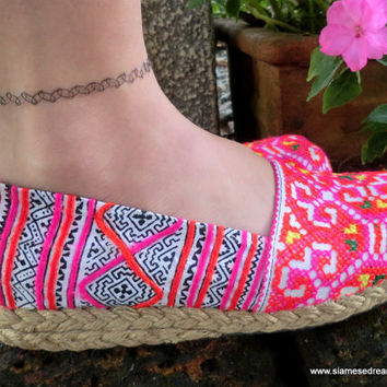 Colorful Hmong Embroidered & Batik Womens Vegan Loafers Shoes