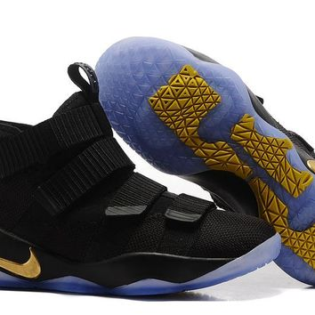 VAWA Nike Zoom Air Men's Lebron Soldier 11 Basketball Shoes Black  Golden