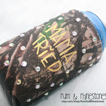 Mama Tried Camo Bling Beer Cover // Country Can Hugger // Party Camo Drink Cozy