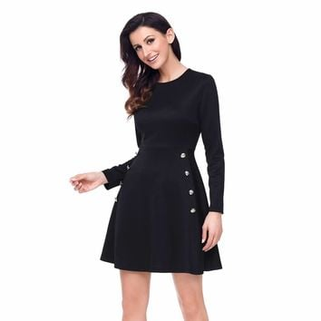 Button Side Detail Black Military Skater Dress