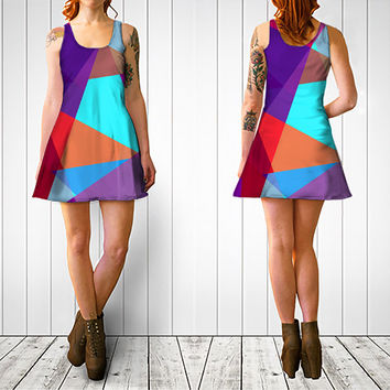Purple turquoise digital print flare dress, geometric design dress, purple dress, turquoise dress, print dress, summer dress, festival dress