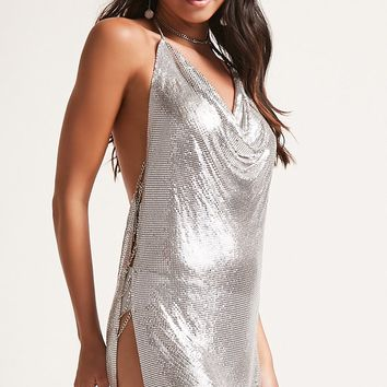 Plunging Chainmail Halter Dress