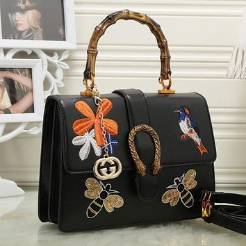 Perfect Gucci Women Leather Embroidery Satchel Handbag Shoulder Bag