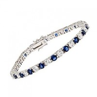 Renee's Sterling Silver Tennis Bracelet Simulated Cubic Zirconia & Blue Sapphire in Prong Setting - Incl. ClassicDiamondHouse Free Gift Box & Cleaning Cloth